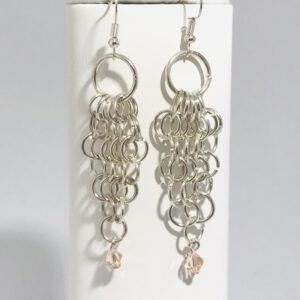 Chain Maille Drop Earrings with Swarovski Crystals