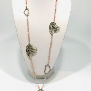 Pink Glass Beads And Hearts Sweater Necklace