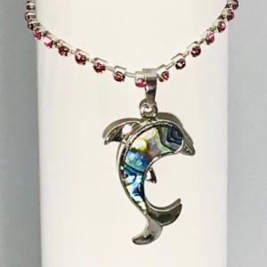 Pink Rhinestone Bracelet With Dolphin