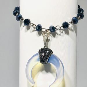 Sea Opal Crescent Moon Bracelet