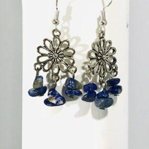 Lapis Lazuli Daisy Dangle Earrings