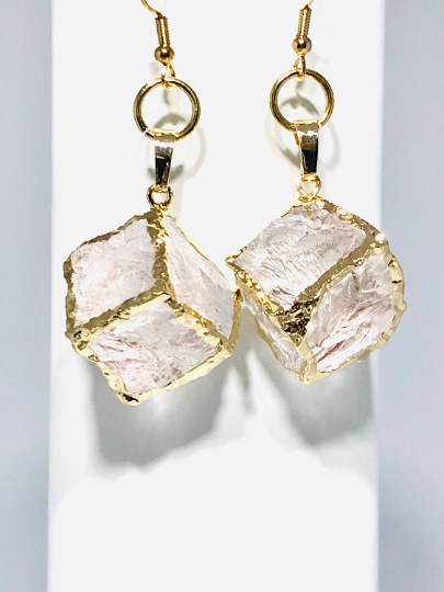 Clear Quartz Crystal Cubed Dangle Earrings In Gold