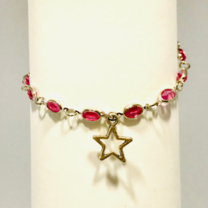 Pink Rhinestone Bracelet with Star