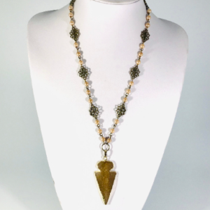 Large Arrowhead Necklace With Bronze Rosary Chain