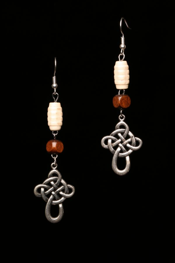 The Celtic Cross And Wooden Beads Earrings