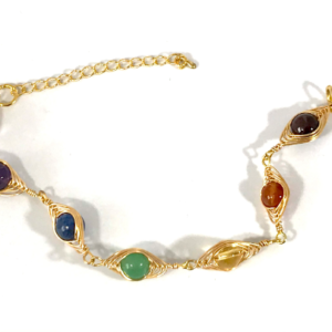 Chakra Bracelet With Wire Wrapped Crystals.