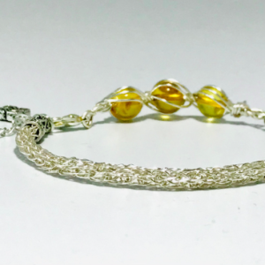 Women's Viking Knit Bracelet With Baltic Amber