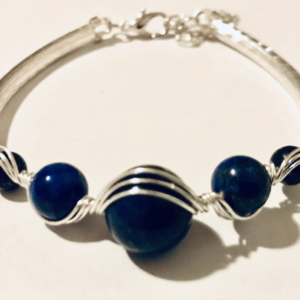 #432 Wire Wrapped Bangle with Lapis Lazuli