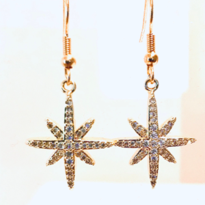 Star Drop / Dangle Earrings With Cubic Zirconia
