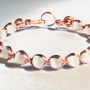 Wire Woven Bangle With Cats Eye in Copper