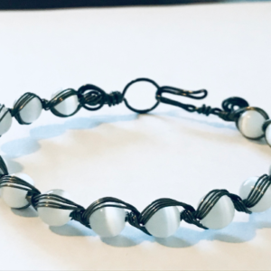 Wire Woven Bangle With Cats Eye in Haematite