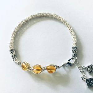 #456 Women's Viking Knit Bracelet With Baltic Amber