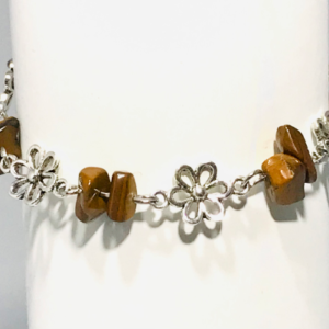 Daisy Chain and Crystal Bracelet In Tigers Eye