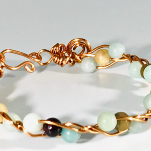 Wire Work Bracelet With Amazonite Crystals