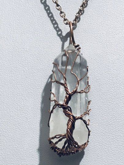 Clear Quartz Tree of Life Necklace in Rose Gold