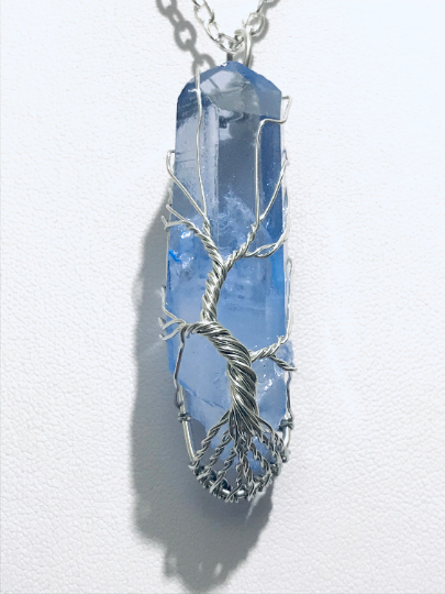 Coloured Quartz Crystal with Tree of Life