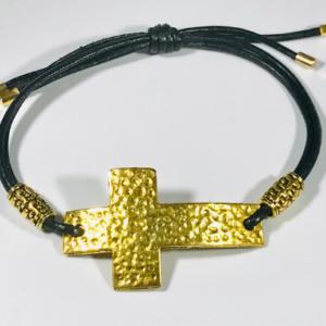 Slide Knot cross Bracelet in Brown