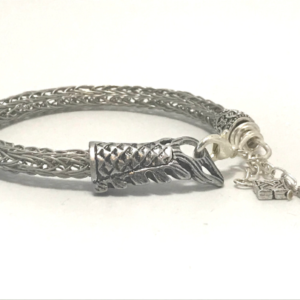 Hand Made Viking Knit Bracelet in Brushed Silver Wire