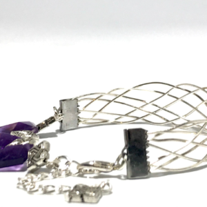 Wire Woven Cuff Bangle with Amethyst
