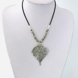 Dalmation Jasper Necklace With Large Leaf Pendant
