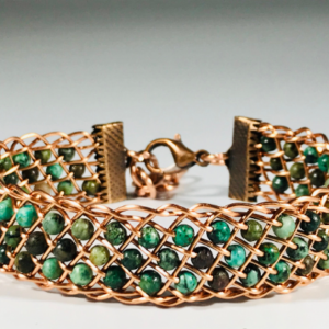 African Turquoise and Copper Wire Bangle
