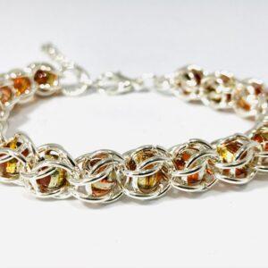 Chain Maille Captured Bead Bracelet in Cognac