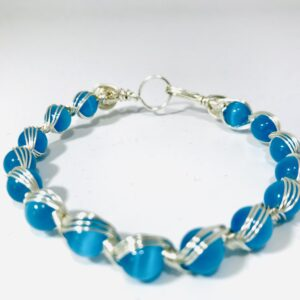 Blue Cat's Eye Bangle In Silver Wire