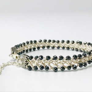 Silver Plated Wire Work Bangle With Haematite
