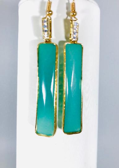 Blue Jade Dangle Earrings with Rhinestones