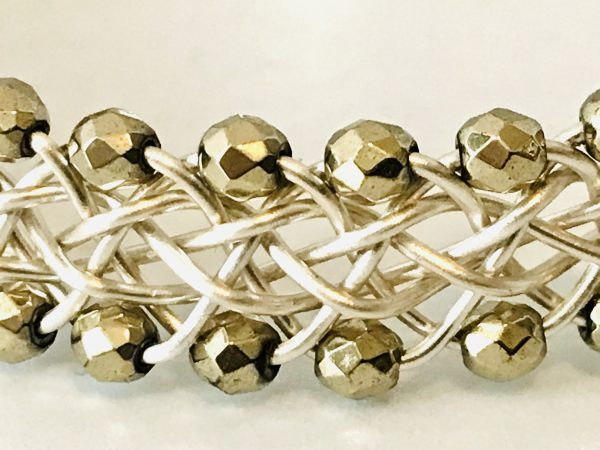 Haematite Handwoven Silver Plated Bangle