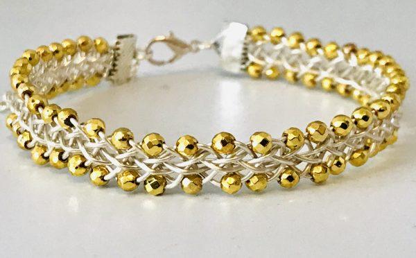 Dark Gold Haematite Bangle Handwoven in Wire