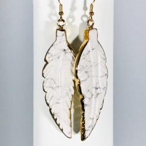 Earrings in White Howlite Crystal