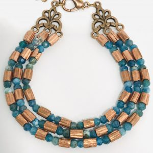 Ethiopian Copper and Spanish Apatite Bracelet