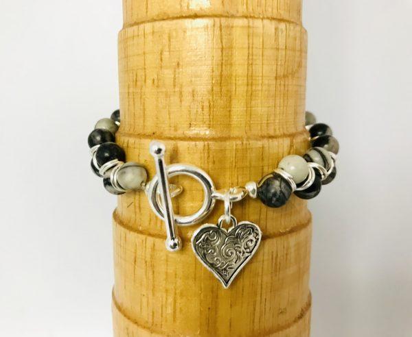 Goddess Bracelet with Black Veined Jasper