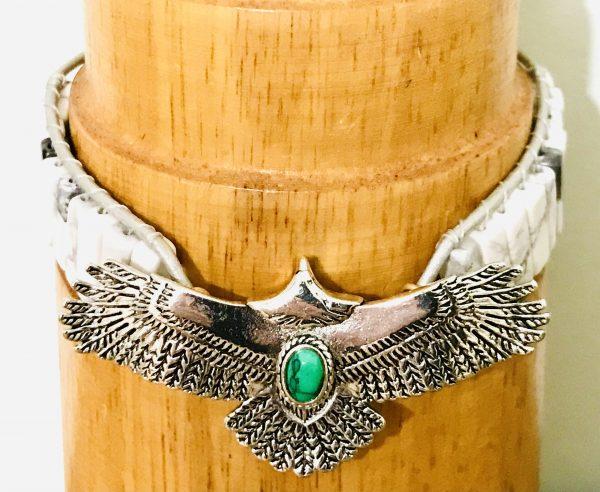 Native North American Eagle and Howlite Bracelet