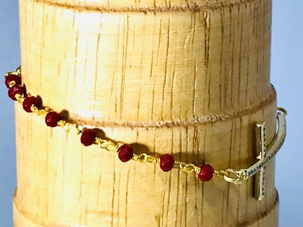 Red Onyx Rosary Chain and Cross Bracelet