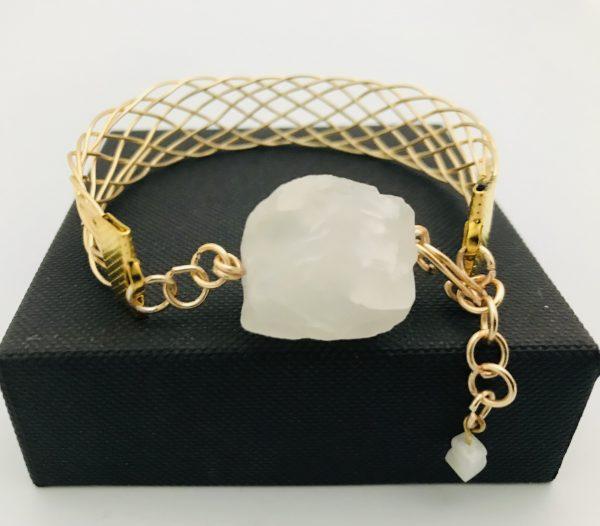 Gold Plated Wire Work Cuff Bracelet