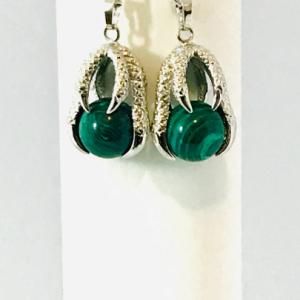 Malachite Claw Drop Earrings